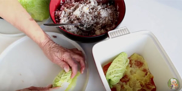 M cabbage rolls Rolling and into pot